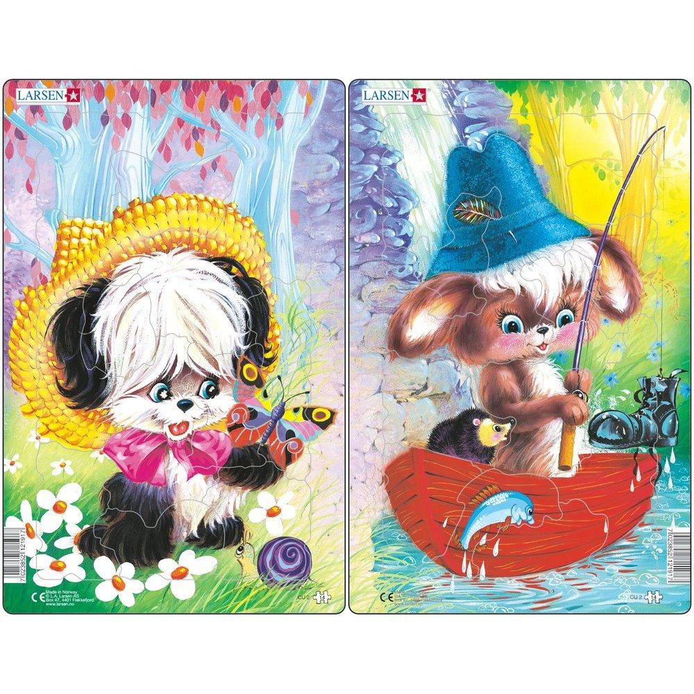 Set 2 Puzzle-uri Animale Simpatice, 14 piese Larsen