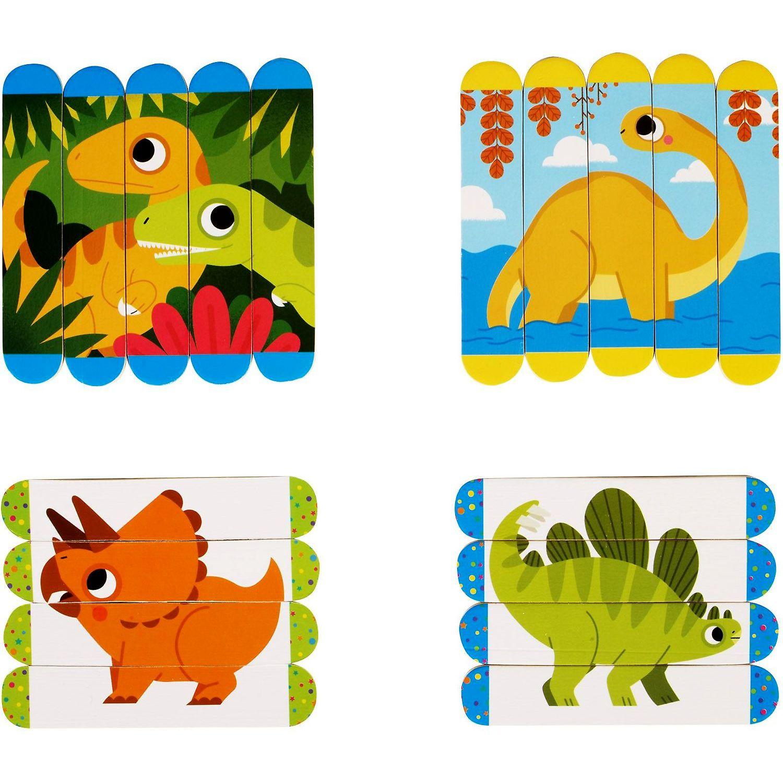 Set puzzle-uri din betisoare lemn - Dinozauri Fiesta Crafts